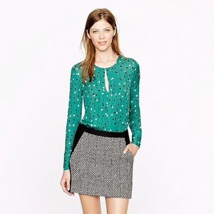 J. Crew pleated silk blouse in abstract dot